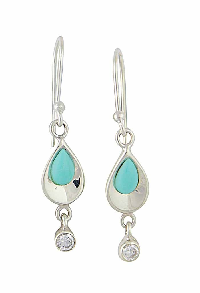 Turquoise and Cubic Zirconia Teardrop Earrings | The Opal