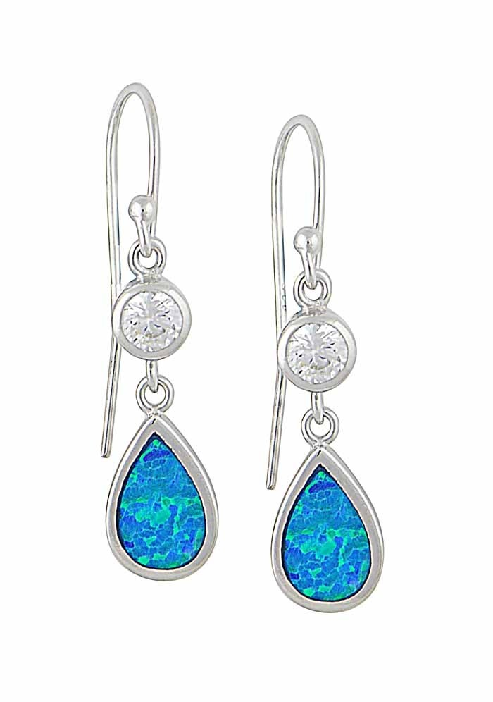 Blue Opal and Cubic Zirconia Teardrop Silver Earrings | The Opal