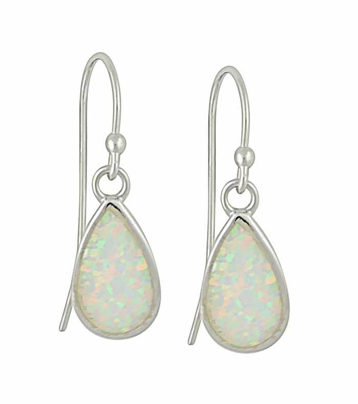 White Opal Silver Teardrop Earrings