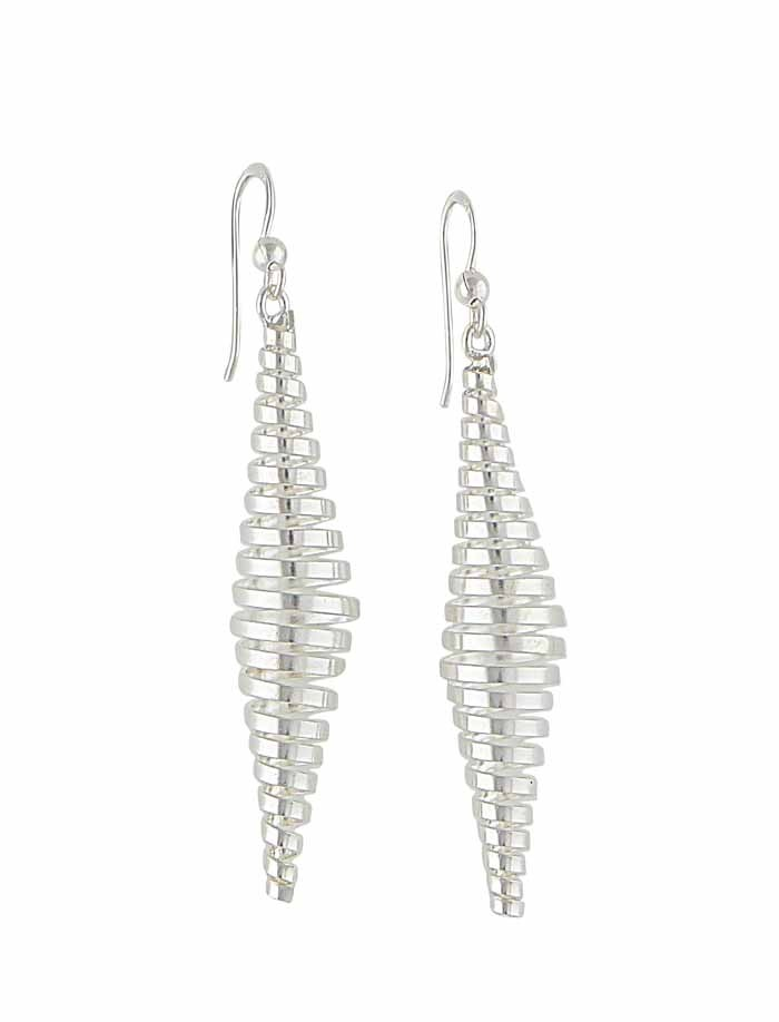 Silver Spiral Long Earrings