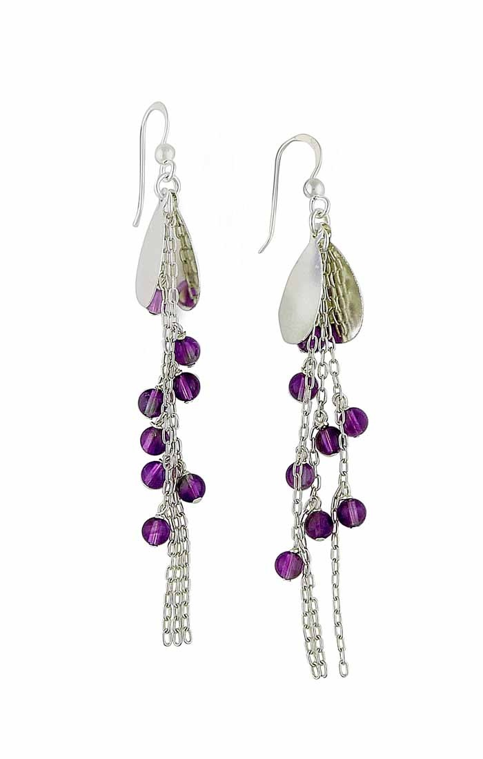 Cascading Amethyst Bead Silver Long Earrings