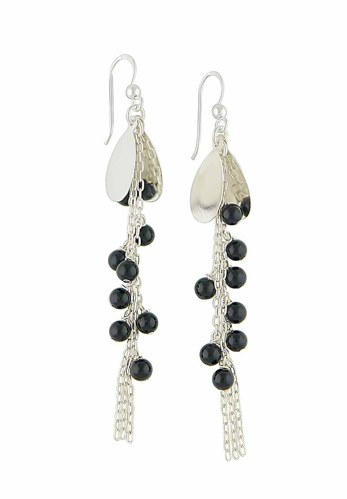 Cascading Black Onyx Bead Silver Long Earrings
