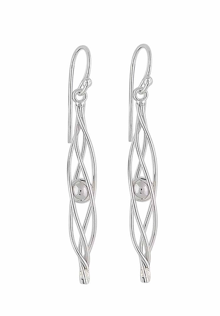 Twist and Silver Ball Drop Earrings | The Opal Jewellery