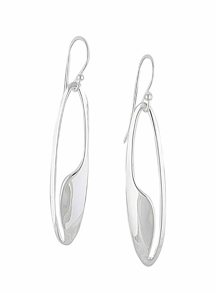 Abstract Oval Silver Long Dangle Earrings