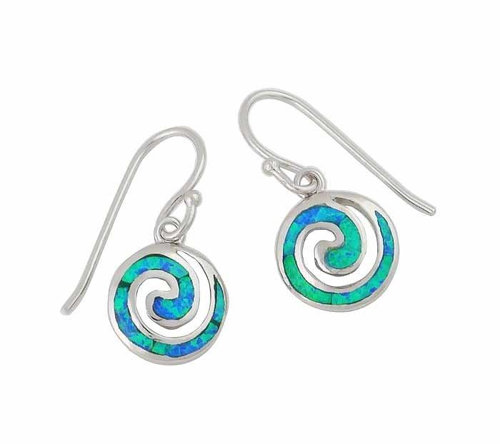Blue Lab Opal Spiral Drop Earrings