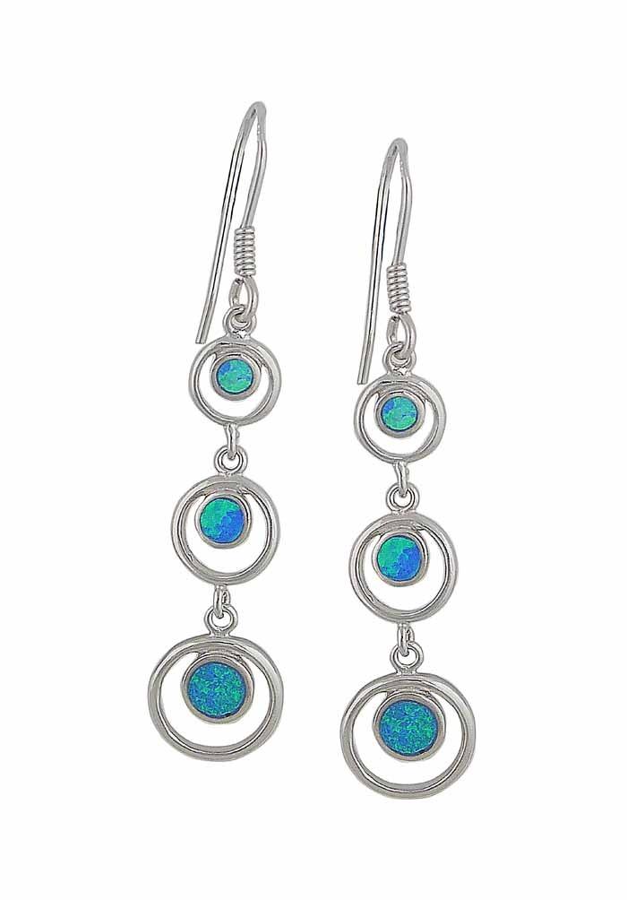 Link Circle Blue Opal Earrings