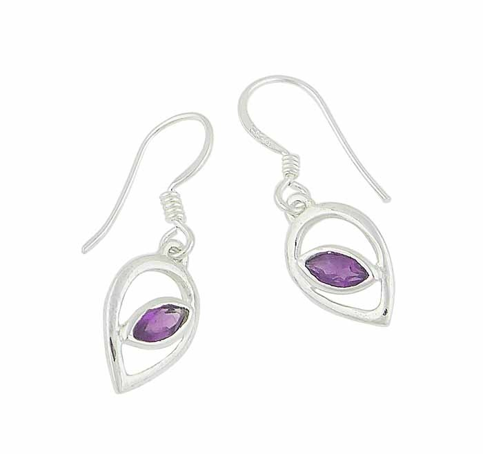 Teardrop and Amethyst Stone Drop Earrings