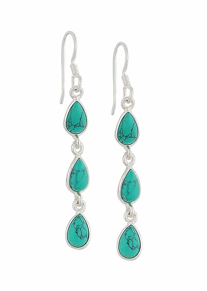 Triple Teardrop Turquoise Drop Earrings