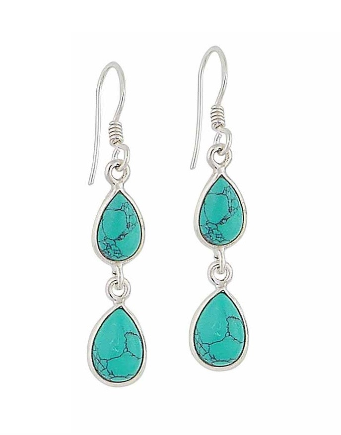 Twin Teardrop Turquoise Drop Earrings