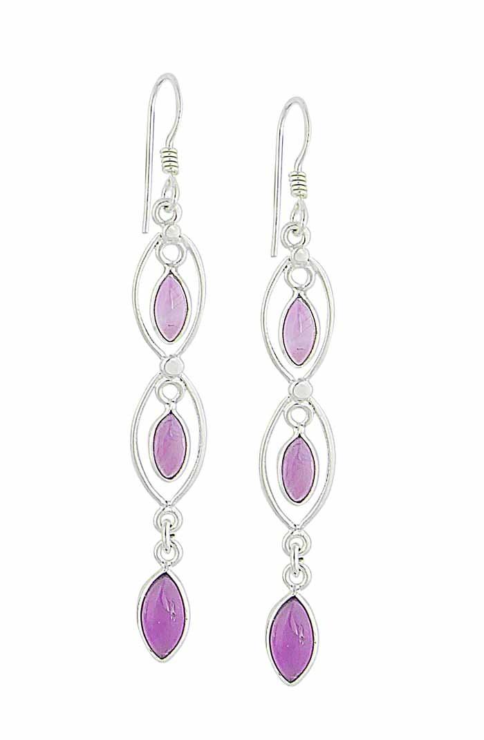 Triple Marquise Amethyst Earrings