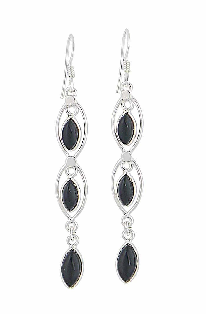 Triple Marquise Black Onyx Earrings