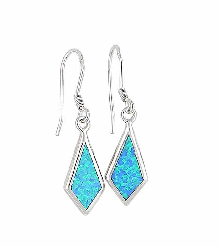Lab Blue Opal Silver Drop Earrings