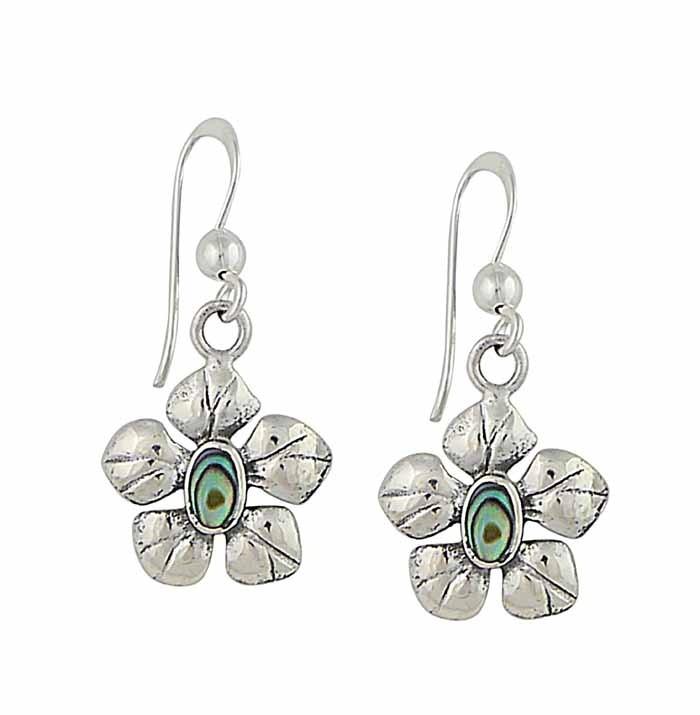 Abalone Flower Drop Earrings in Sterling Silver