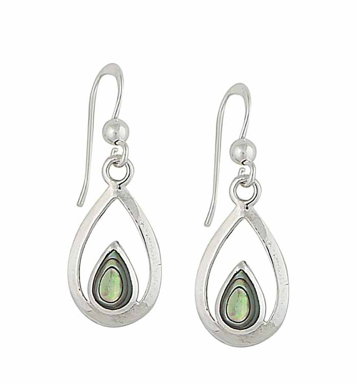 Abalone and Open Teardrop Silver Earrings