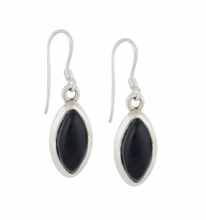 Marquis Black Onyx Silver Drop Earrings