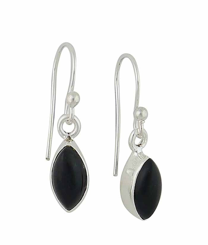 Marquise Black Onyx Small Silver Drop Earrings (Earrings)