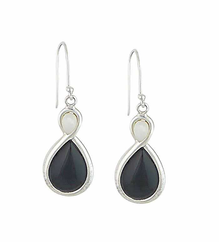 Figure of Eight Drop Earrings with Mother of Pearl and Black Onyx