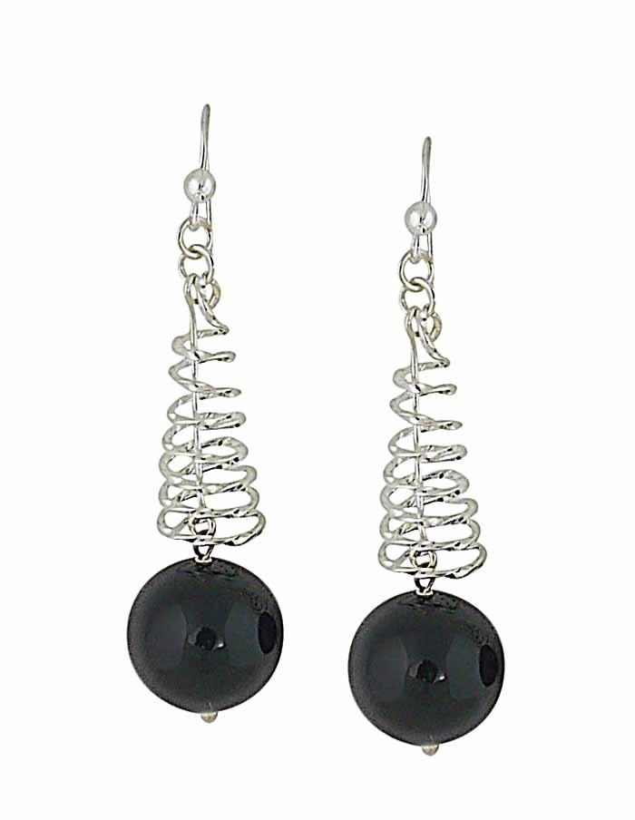 Black Onyx Spiral Silver Drop Earrings