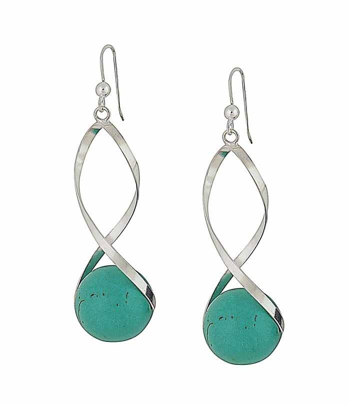 Encased Turquoise Silver Drop Earrings