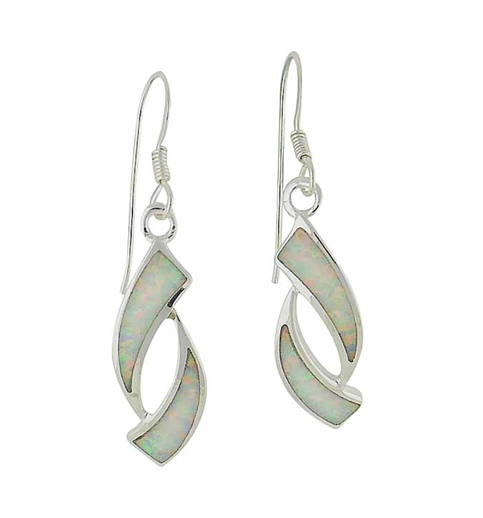 Obverse White Opal Silver Drop Earrings