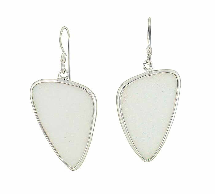Plectrum White Opal Silver Earrings