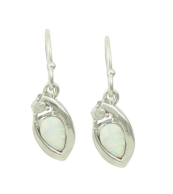Nestled White Opal Silver Earrings