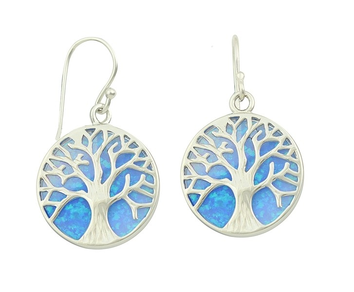 Blue Opal Tree of Life Silver Earrings