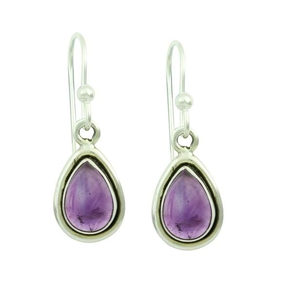 Amethyst Droplet Silver Earrings