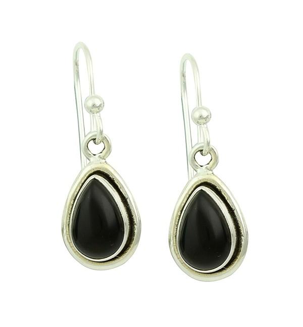 Black Onyx Droplet Silver Earrings