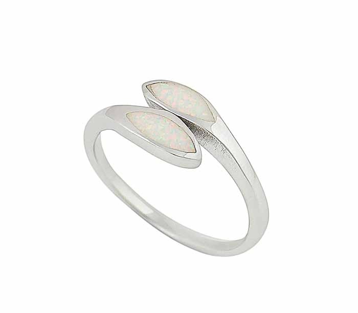 Dual Marquis White Opal Silver Ring