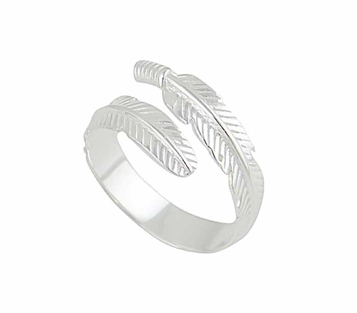 Silver Feather Adjustable Ring