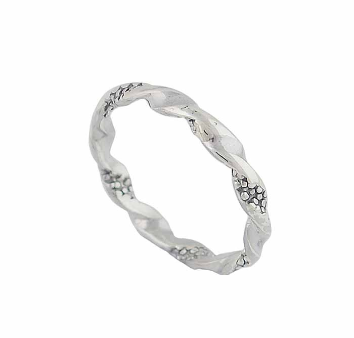 Twist and Dotted Pattern Silver Stacking Ring