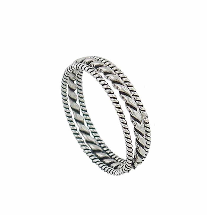 Trio of Rope Style Silver Stacking Ring