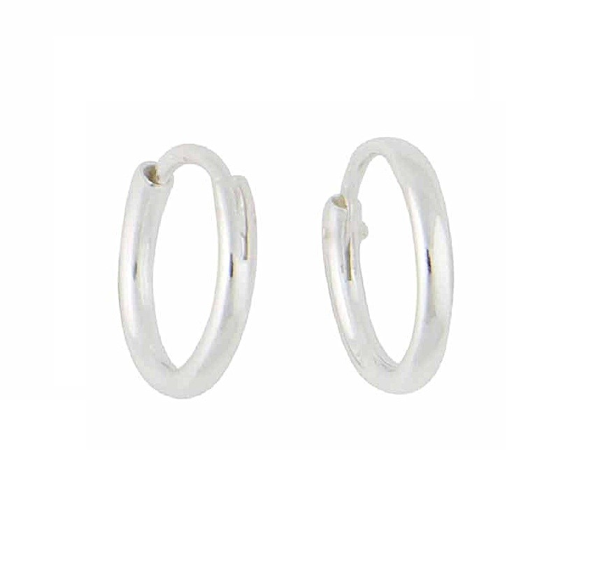 Sterling Silver Plain Hoop Earrings - 14mm
