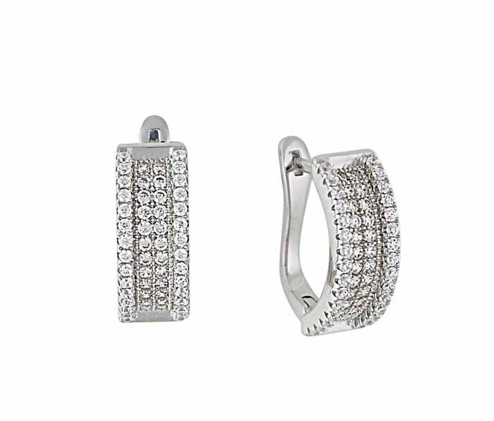 Cubic Zirconia Silver Hoop Earrings 18mm