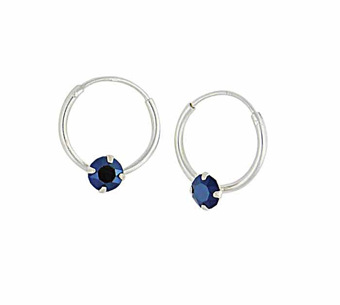 Swarovski Metallic Blue Opal Silver Hoop Earrings - 12mm