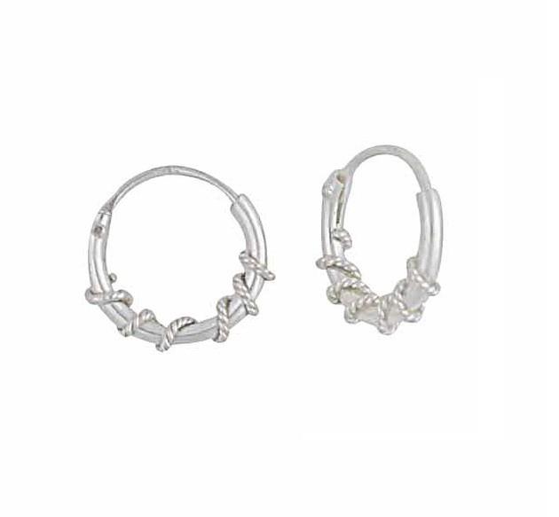 Twisted Small Silver Hoop Earrings - 10mm