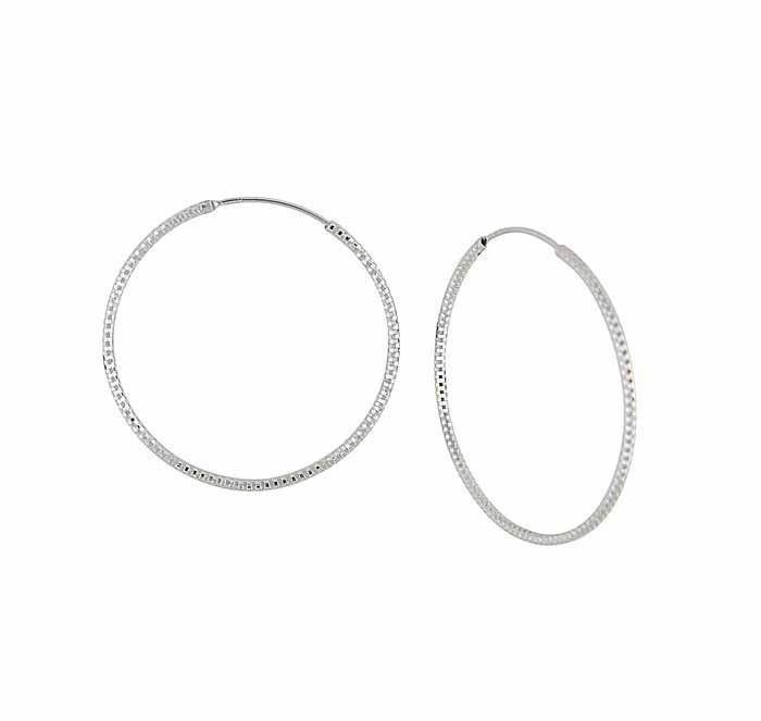 Textured Design Large Silver Hoop Earrings - 42mm