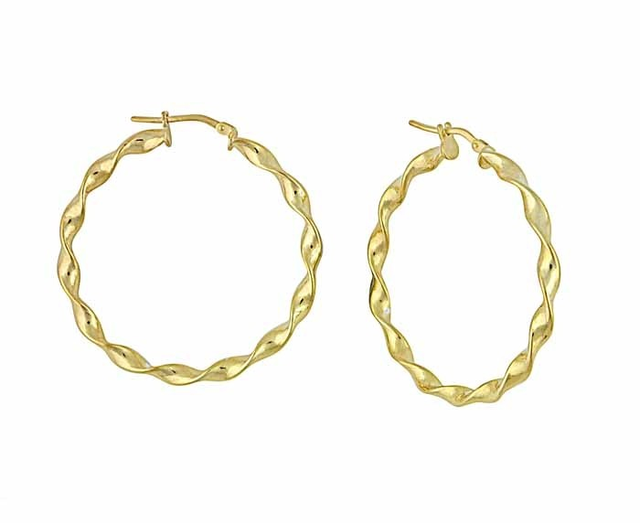 Twisted Gold Plated Silver Hoop Earrings - 35mm