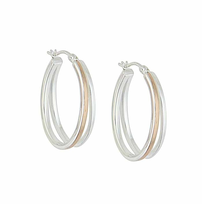 Silver and Rose Gold Plated Oval Hoop Earrings - 28mm