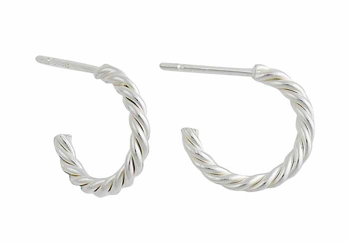 Rope Design Silver Half Hoop Earrings - 15mm