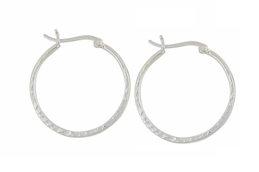 Hammered Style Silver Hoop Earrings - 30mm
