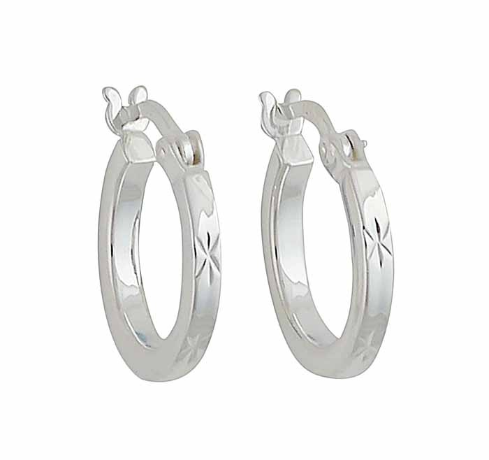Star Pattern Silver Small Hoop Earrings 14mm