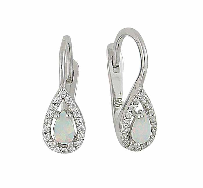 Teardrop White Opal and Cubic Zirconia Earrings