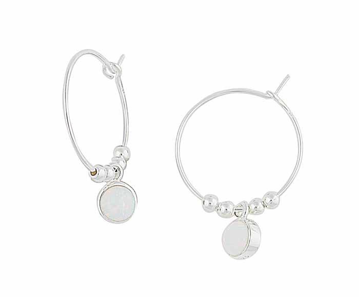 Circular White Opal Silver Hoop Earrings