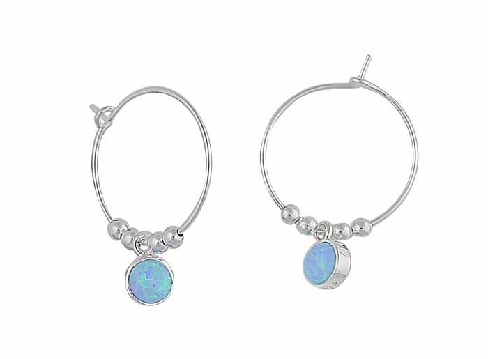 Circular Blue Opal Silver Hoop Earrings