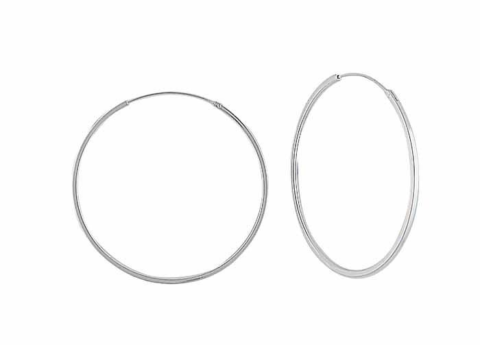 Large Silver Hoop Earrings - 50mm