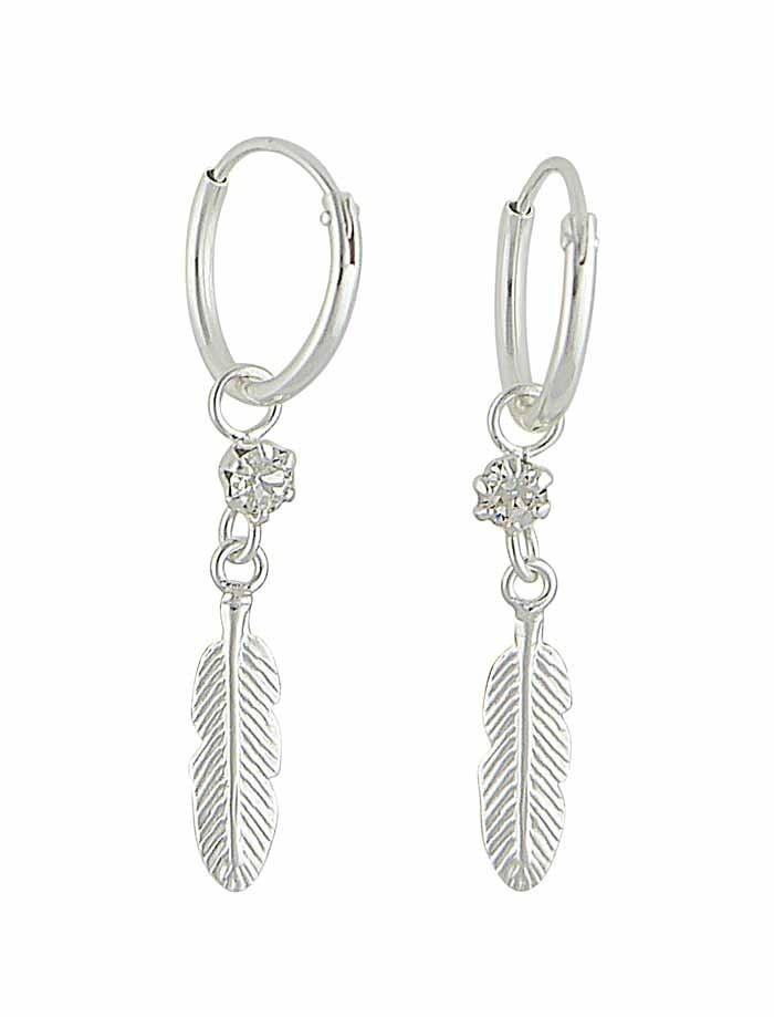 Feather Charm Silver Hoop Earrings