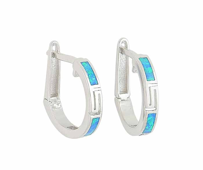 16mm Blue Opal Silver Hoop Earrings