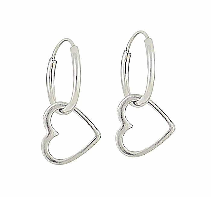 Heart Charm Small Silver Hoop Earrings